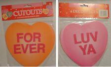 "Amscan Set Of 6 Nip Valentine Die Cut Out Decoration Conversation Heart 8.5"""