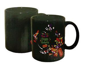 2 Happy Birthday Colour Changing Magic black heat sensitive Coffee Mug Gift Tea