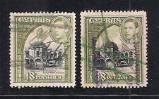 CYPRUS 1938 KG VI 18pi S.G 160 & 160a BOTH SHADES USED AS REVENUE FISCAL STAMPS