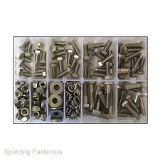 Assorted UNF A2 Stainless Steel Set Screw Fully Threaded Bolts, Nuts & Washers