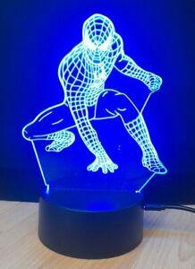 3D LED Night Lights spiderman 7 colours Desk Lamp Kids Gift