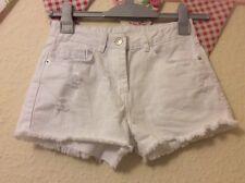 Girls Matalan White Denim Adjustable Button Waist Shorts Age 12