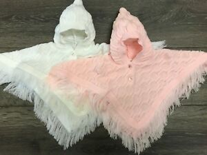 baby babies tassels thicker GIRLS HOODED PINK WHITE CAPE poncho cardigans cardi