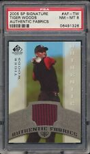 2005 SP Signature Tiger Woods AF-TW Authentic Fabrics Game Used Shirt PSA 8