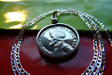 "ANTIQUE CONQUISTADOR COIN JEWELRY PENDANT  on a 30"" .925 STERLING SILVER CHAIN"