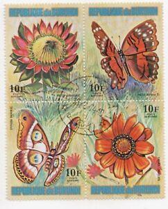 1973 Burundi Butterflies and Flowers Plate Block Used CTO 10F