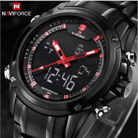 Naviforce 9050 Luxury Quartz Digital Waterproof Stainless Steel Sports Men Watch