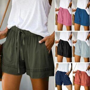 Summer Drawstring Splice Casual Fashion Womens Elastic Waist Loose Shorts Pants