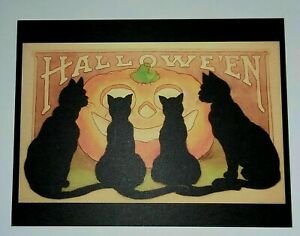 *UNUSED* Halloween Postcard: Four Cats & J-O-L Vintage Images~Reproduction