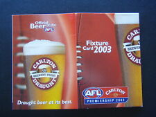 AFL CARLTON CUB PREMIERSHIP 2003 CARD SPORTSPICK TIPPING COMPETITION - FIXTURE