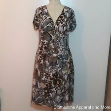 Womens Brown Knit Casual Dress Short Sleeve 14 Large XL Dressbarn Stretch V-neck