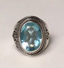 Blautopas Ring Sterlingsilber 925 ovaler facetten Schliff Ringgröße 58 No 18