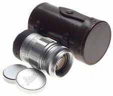LEICA Bayonet M mount Elmarit 2.8/90mm coated lens f=90mm case caps chrome clean