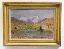 "Swiss Listed Artist Albert Gos Org Signed Oil/Canvas ""Valais Switzerland"" C.1890"