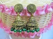 Awesome Green Chalcedony Gemstone Gold Oxidize Plated Jhumka jhumki Stud Earring