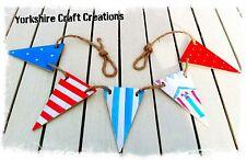 Nautical Beach Hut Seaside Theme Wooden Handmade Bathroom Bunting - 5 flags