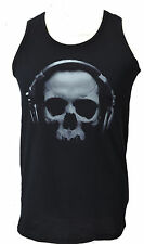 MENS FITTED BLACK TANK TOP SKULL WITH HEADPHONES DJ MUSIC GOTH RAVE    S-5XL