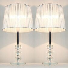 PAIR of NEW Table Bedside LAMPS with CRYSTALS on STEM