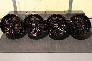 "SPORTSMAN 570 14"" SYSTEM 3 ST-4 RED & BLK ATV WHEELS (SET 4) POL3CA"