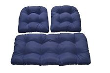 Set of 3 Cushions for Wicker Loveseat Settee & Chair - Navy/Dark Blue Solid