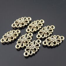 Antique Bronze Tone Vintage Flower Connector Charms Findings 10*8mm 120pcs 36865