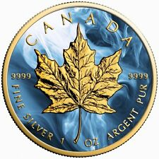 Canada Silver Maple Leaf Coin Blue Magic Colorized and Gold Gilded Golden Noir