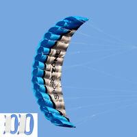 2.5m Dual Line Parafoil Parachute Stunt Sport Beach Outdoor Toys Blue Kite W Bag