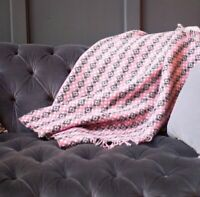 The Weaving Shed UK Wool Blanket Welsh Tapestry Style Blanket - Pink & Black
