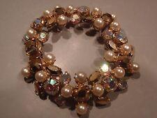 Vintage Regency Comet Aurum, AB & Faux Pearl Rhinestone Bracelet