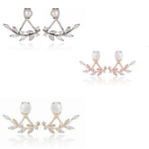 New Women Lady Leaf Crystal Ear Jacket Double Sided crystal Swing Stud Earrings