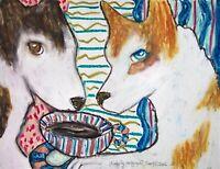 SIBERIAN HUSKY Drinking Coffee Pop Folk Art Print 8 x 10 Dog Collectible Signed