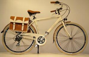 """CITY BIKE Bicicletta CLASSICO ITALIANO UOMO ALLUMINIO 28""""  7V RETRO' Beige"""
