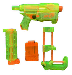Nerf Recon CS-6 Clear Dart Blaster Gun With Barrel, Stock & 1 Clip Tested Works!