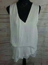 Zara Womens Top Size S Cream Asymmetric Neck Pleated Soft Sheer Floaty Blouse
