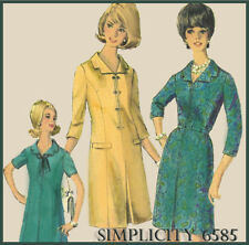 """S6585  VTG 1960s Sewing Pattern Business Work Inverted Pleat Dresses B36"""" Sz 16"""