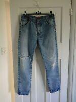 SWADE Mens Straight Leg Jeans 34/32 distressed