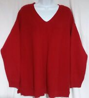 Vintage Chaps Ralph Lauren Women Sweater 2X Ribbed Knit Red Long Sleeve V Neck