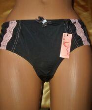 Aufregendes Glanz Nylon Spitzen Höschen XL schwarz Slip Panty Nylonslip  (K466)