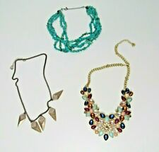 Statement Necklace Lot Turquoise Blue Pink Purple