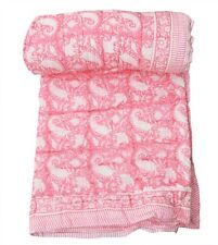Hand Block Print Indian Cotton Reversible Winter Quilt Throw Blanket Twin Size
