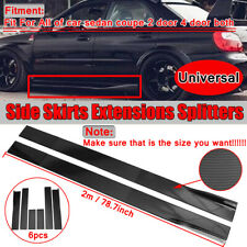 "78.7""Universal Carbon Fiber Look Side Skirt Extension Rocker Panel Splitter Lip"