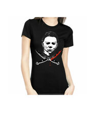 Rock Rebel Mike Myers Crossed Knives Halloween Womens T Shirt Small