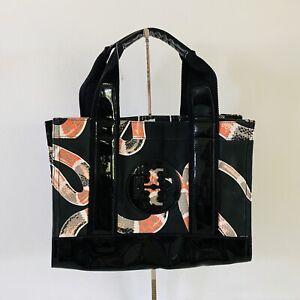 TORY BURCH Black Snake Print Ella Mini Nylon Tote Bag Large Logo