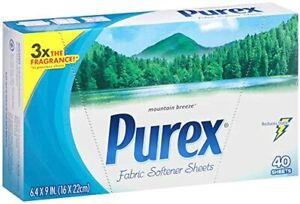 Purex Fabric Softener Dryer Sheets, Mountain Breeze, 40 Count