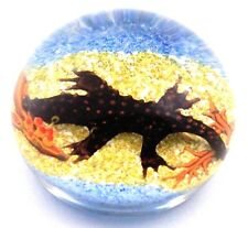 LARGE Very Cool WILLIAM MANSON Menacing CROCODILE Art Glass PAPERWEIGHT