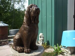 SITTING BRONZED STONE BLOODHOUND DOG STATUE  GARDEN SCULPTURE