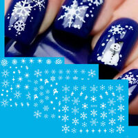11PCS Christmas Nail Art Stickers Snowflakes&Cute Snowmen Decal Water Transfer