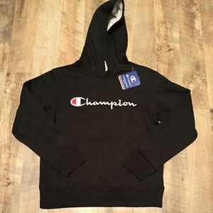 Champion Kids Embroidered Black Hoodie Boys Junior Size M Medium NEW