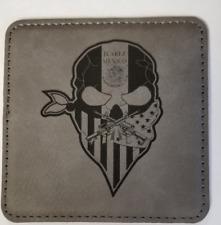 JUAREZ MEXICO Narco Trafficking NARCOS US MEX BORDERLAND 4 Gray Leather Coasters