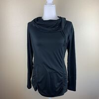 Zella Size Medium Activewear Workout Long Sleeve Top Cowl Neck Womens Black